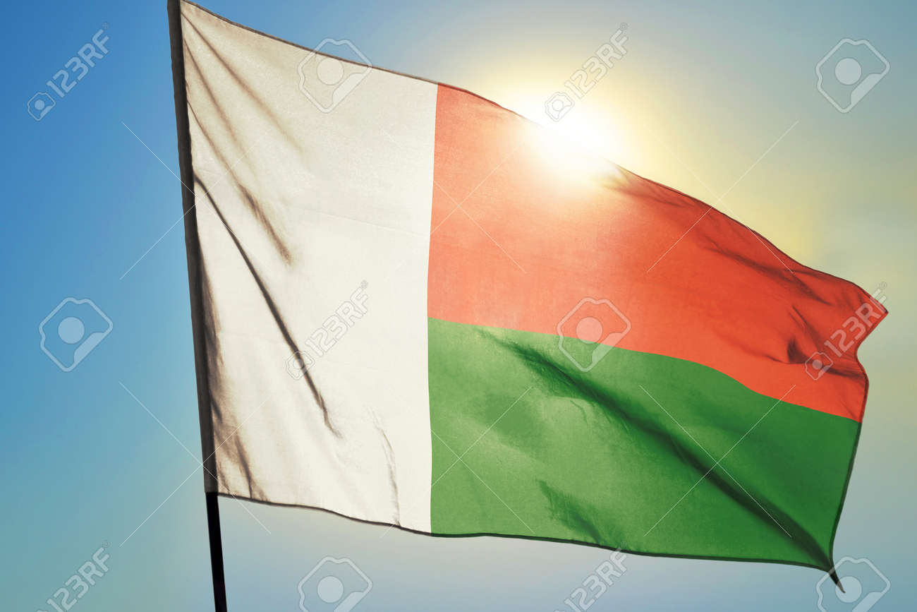 Madagascar flag waving on the wind in front of sun - 166480101