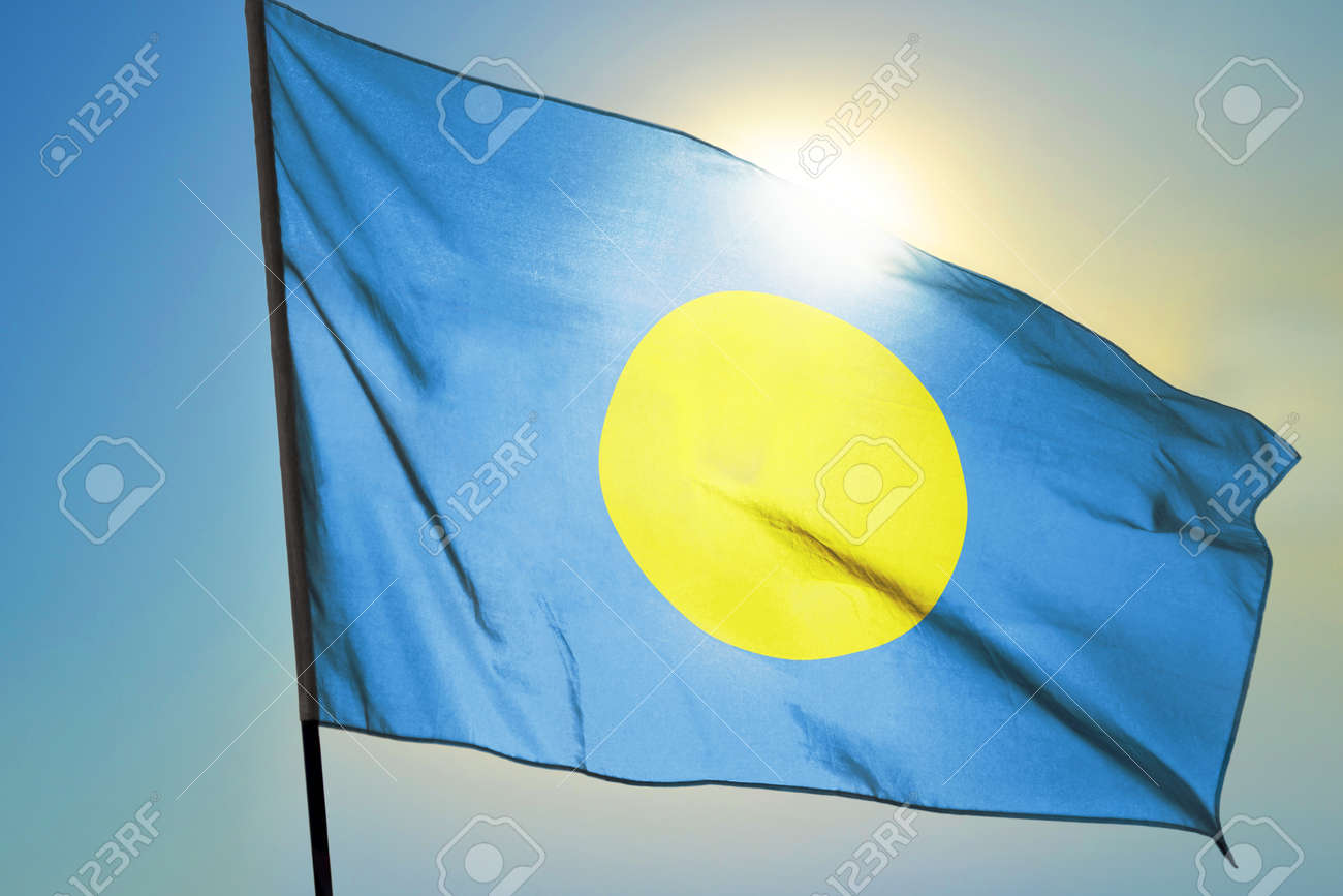Palau flag waving on the wind in front of sun - 166480126