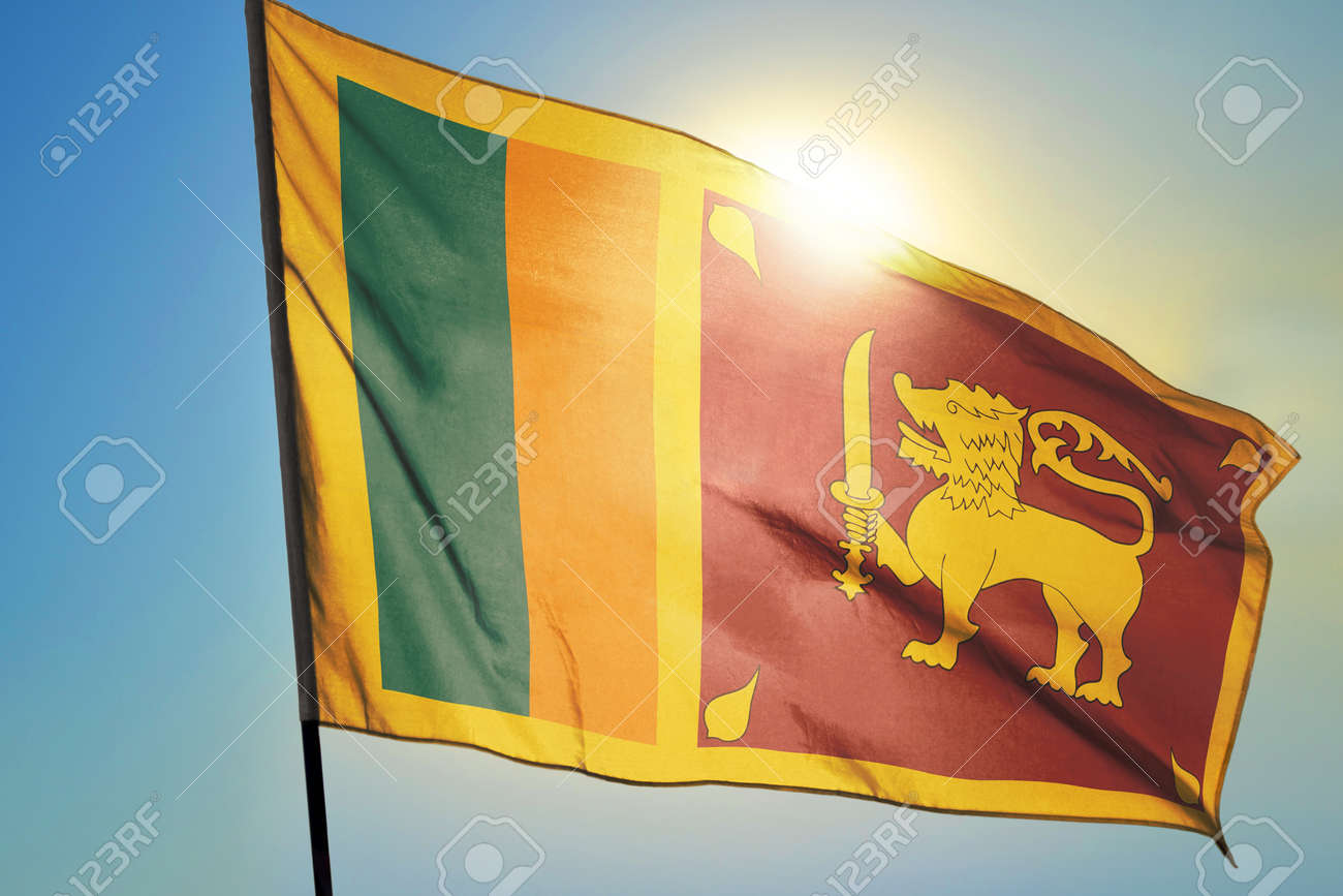 Sri Lanka flag waving on the wind in front of sun - 166480148