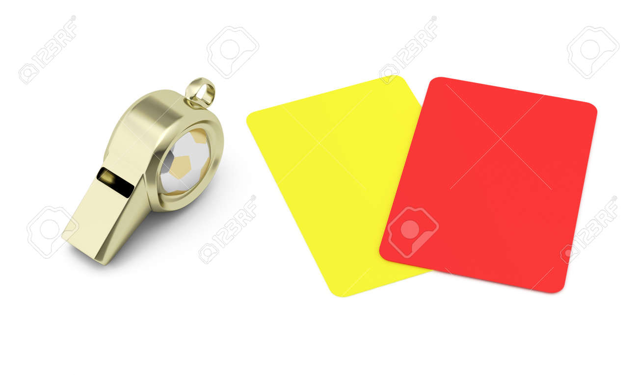 whistle and red and yellow cards isolated on white background football refereeing concept 3d render - 14932441