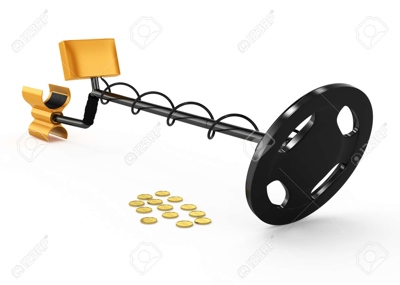 metal detector and coins isolated on white background  3d rendered image Stock Photo - 16455841