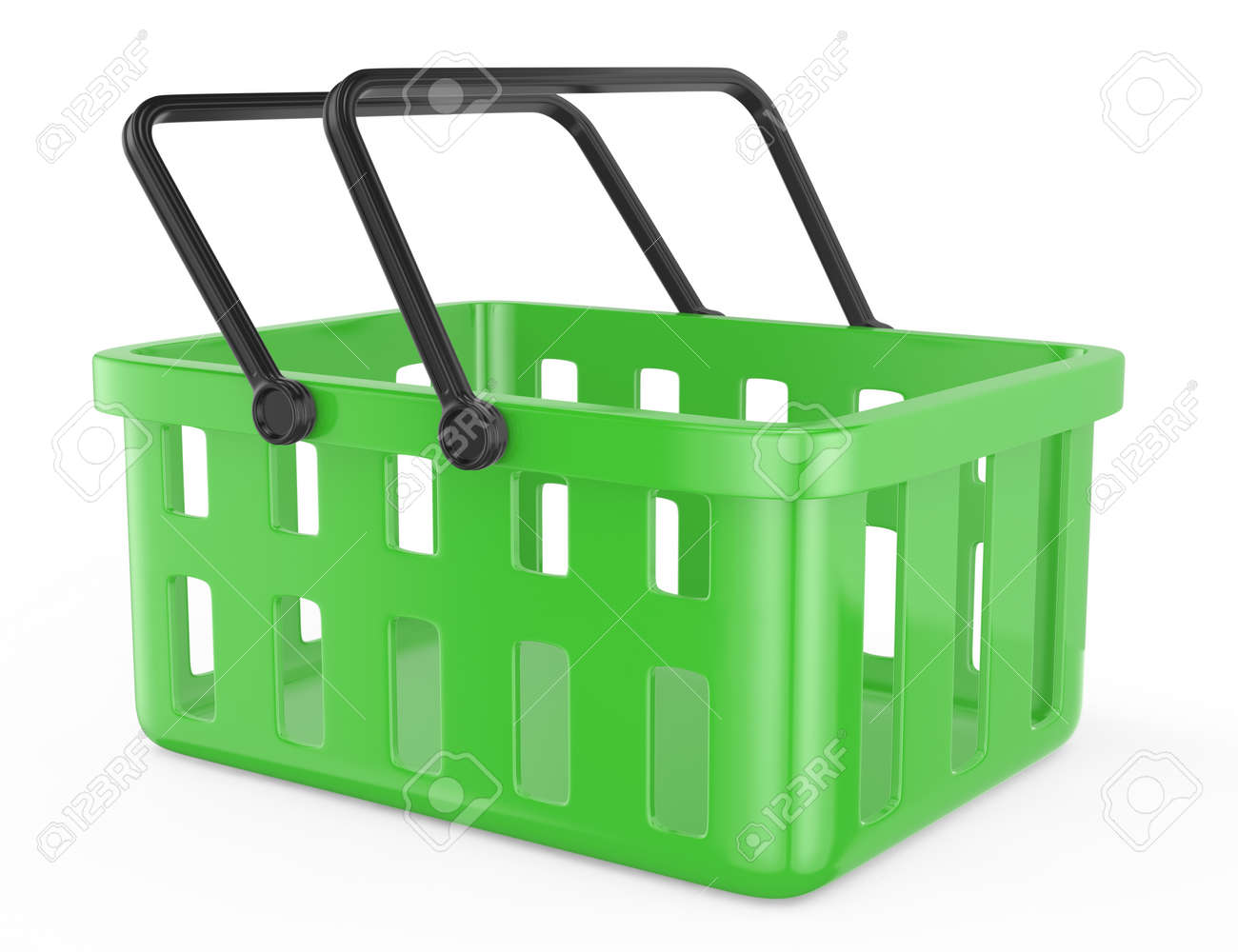 green shopping basket isolated on white  3d rendered image Stock Photo - 17258417