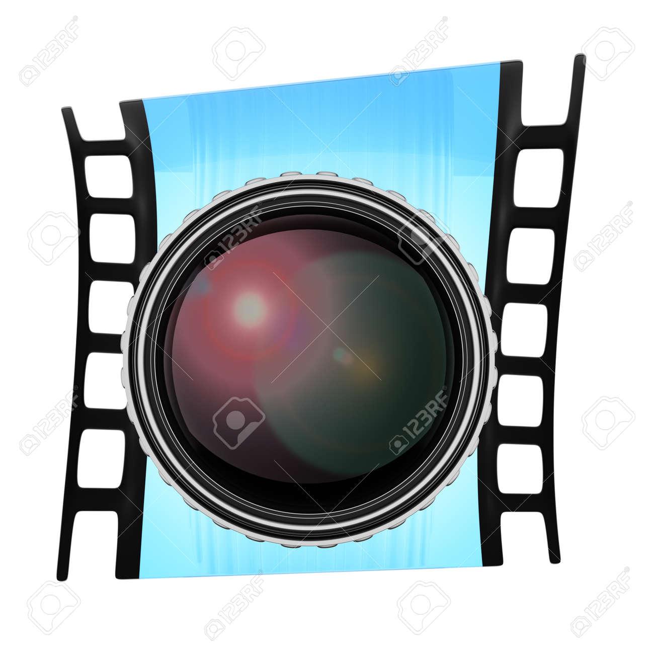 Linse Und Film-Frame Isoliert Auf Weißem Hintergrund. 3D-Rendering ...