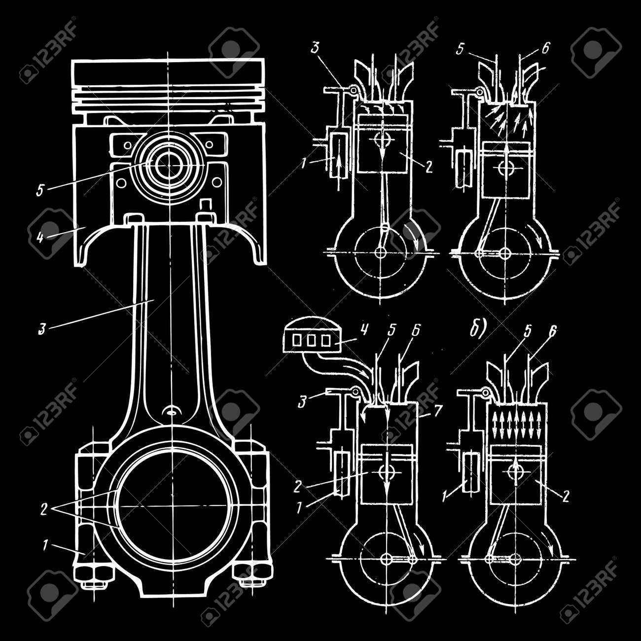 Set Of Blueprints Of Pistons On Black Royalty Free Cliparts, Vectors ...