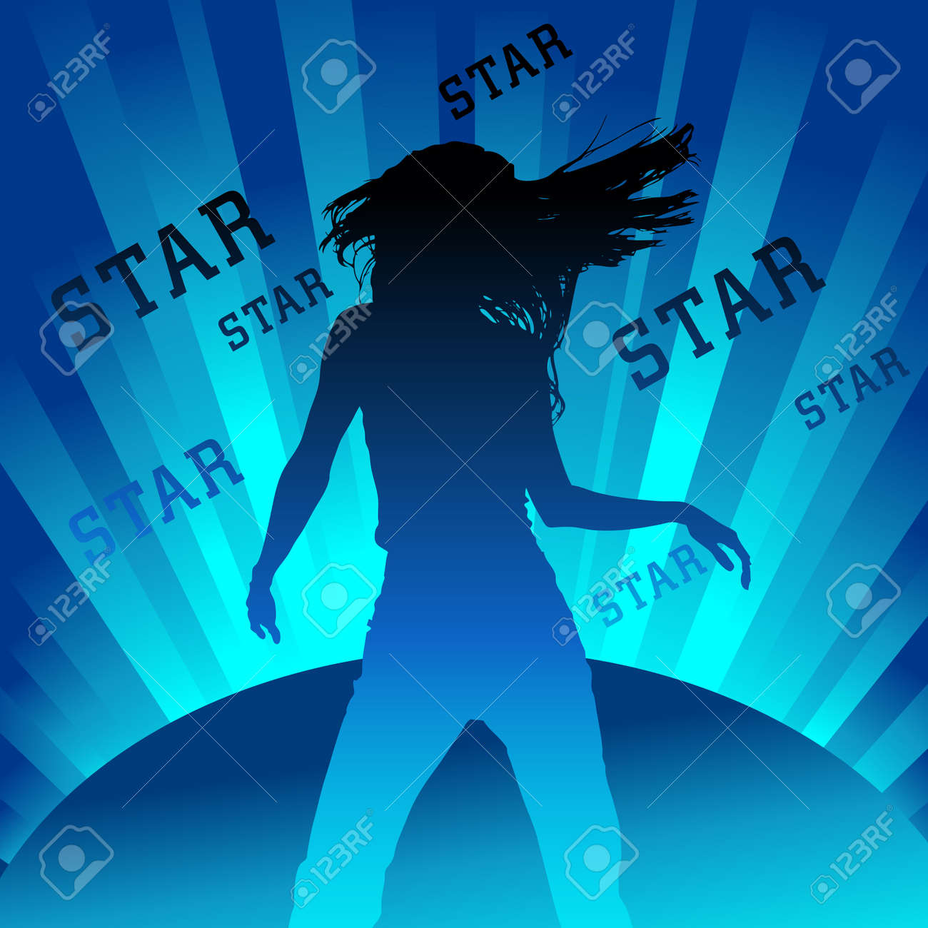 silhouette of dancing figure on shining background Stock Vector - 11475506