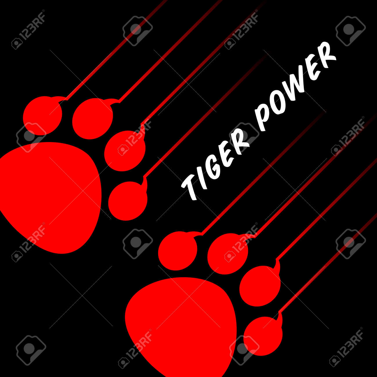 red tiger paw on black Stock Vector - 11475500