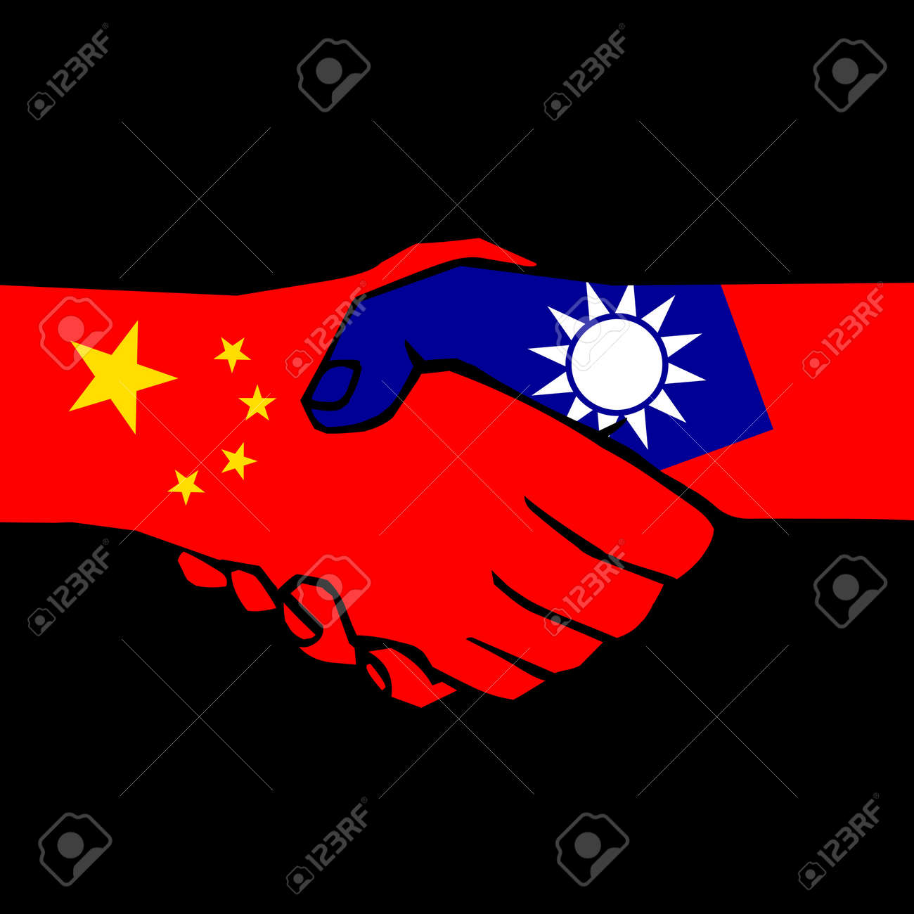 handshake of two states on black Stock Vector - 11919610