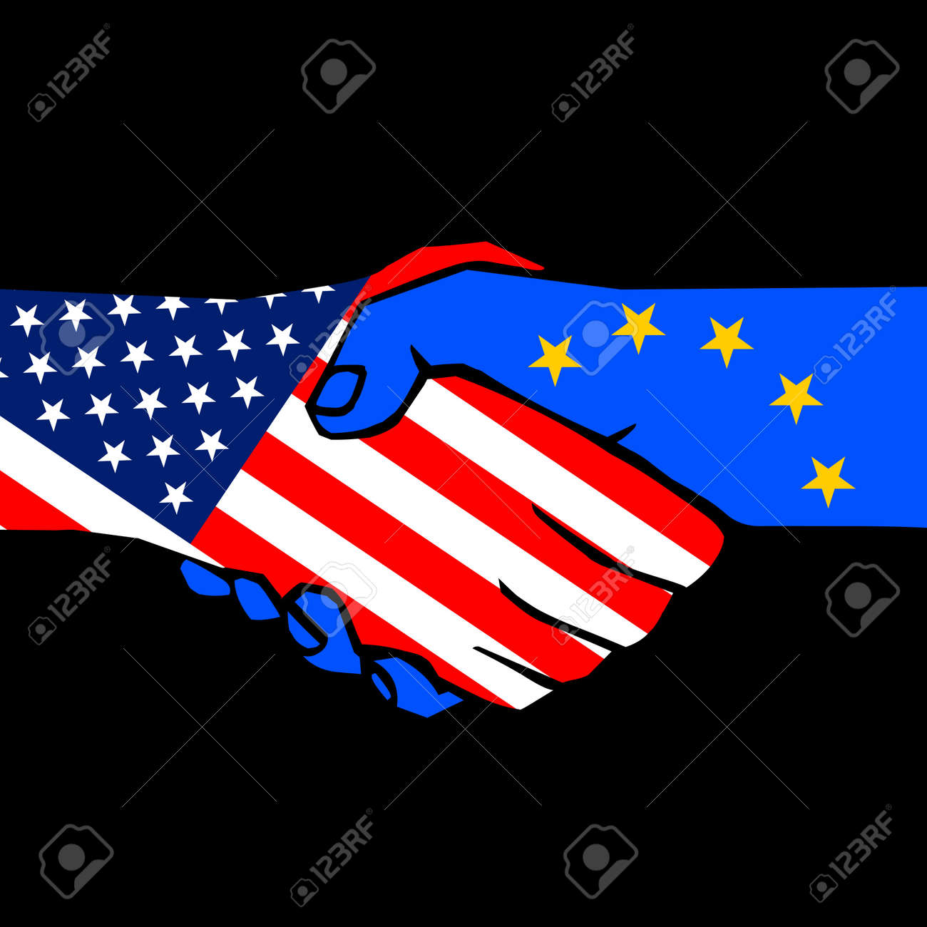 handshake of two states on black Stock Vector - 11919612