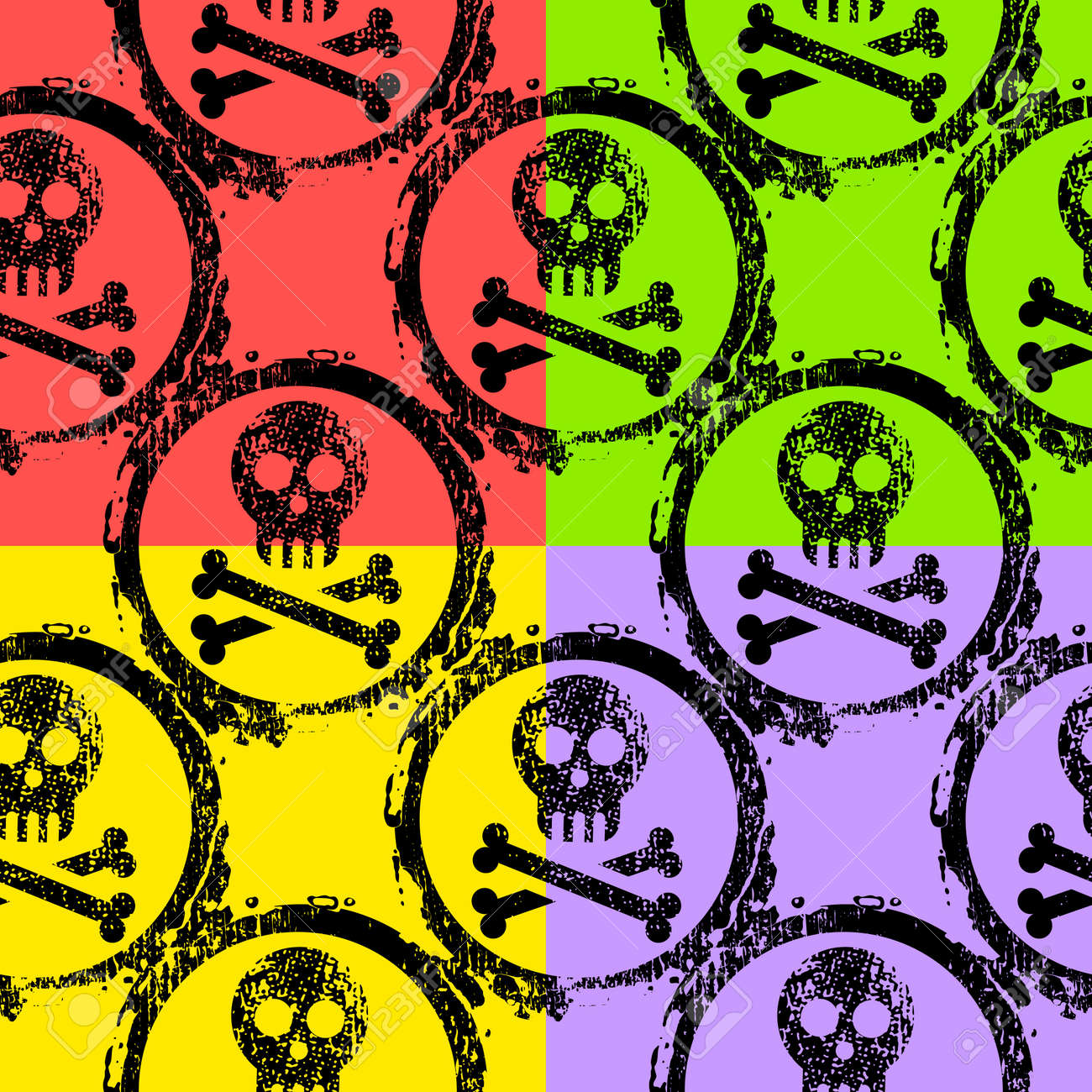 colorful seamless wallpaper of skulls Stock Vector - 12345249