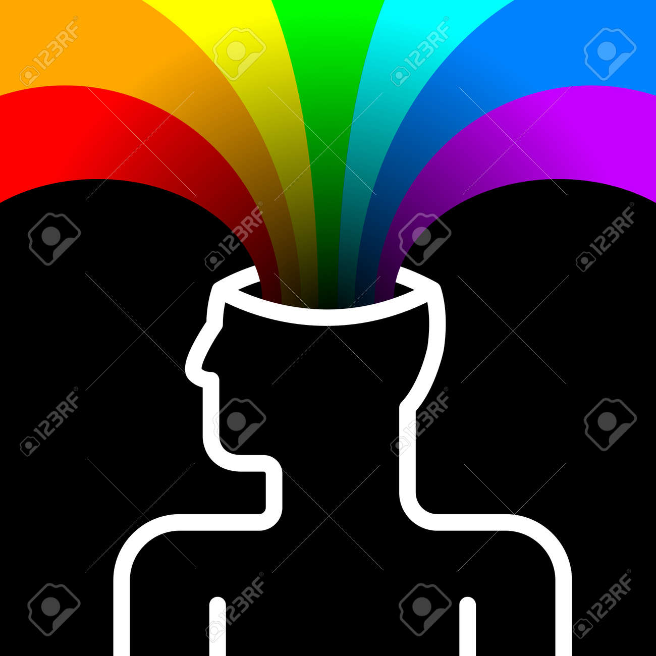 state of happiness with rainbow out of head Stock Vector - 16402524
