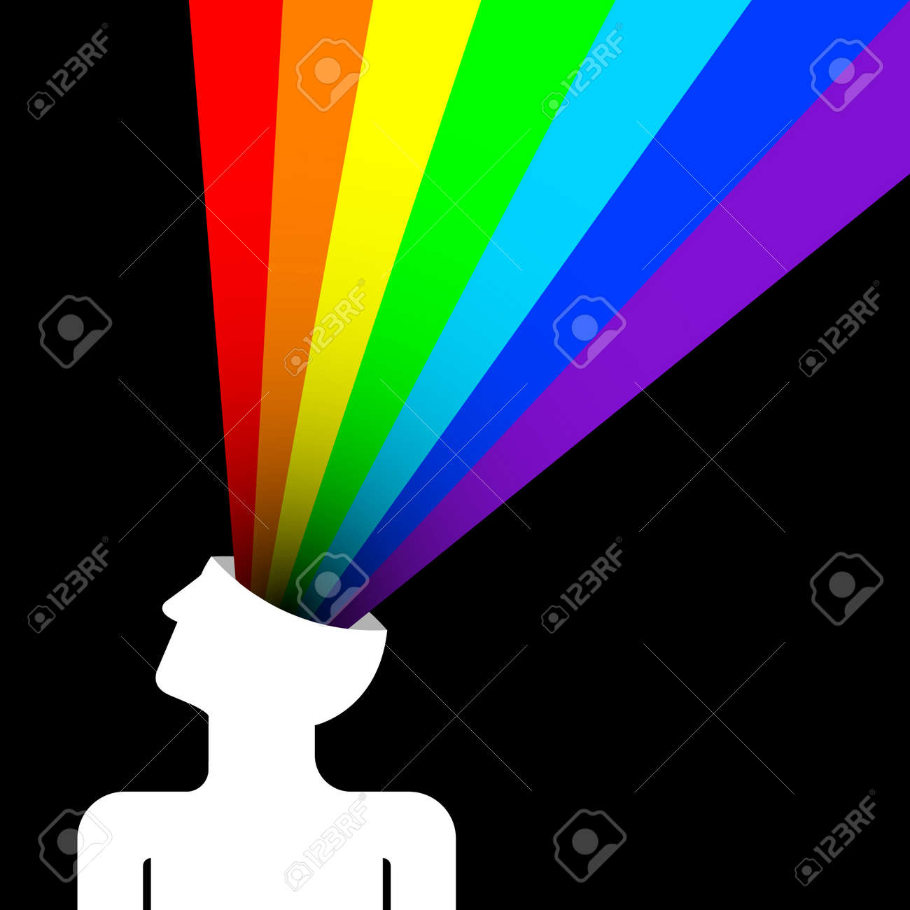 state of happiness with rainbow out of head - 16402525