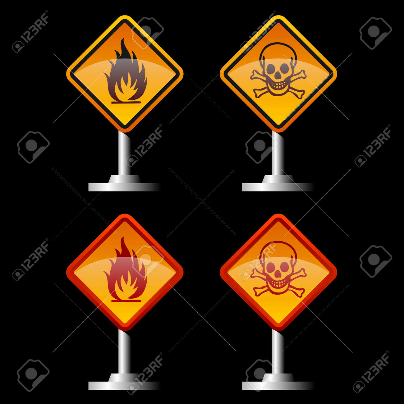 warning fire and jolly roger signs Stock Vector - 16627716