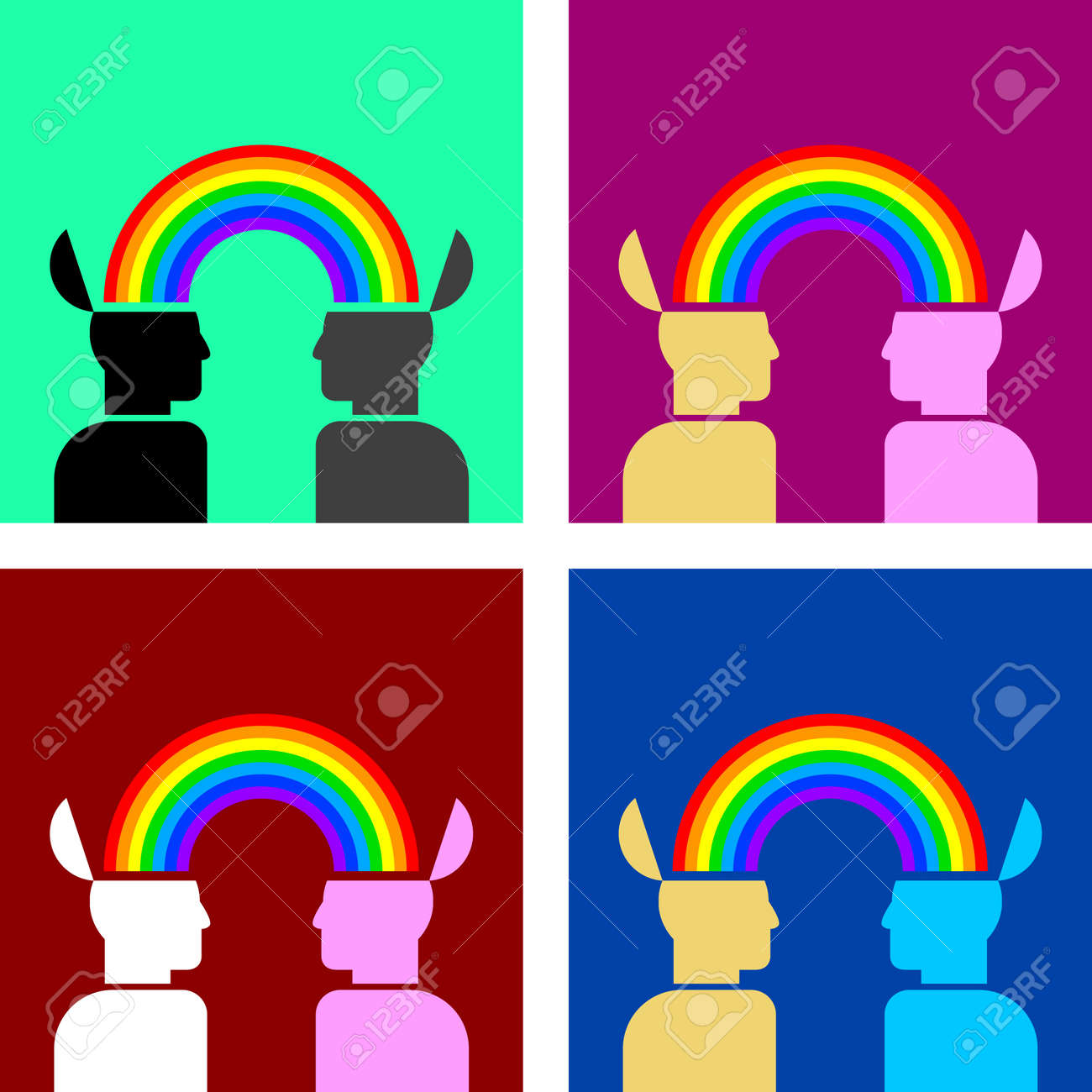 colorful image of rainbow connecting people Stock Vector - 16759167