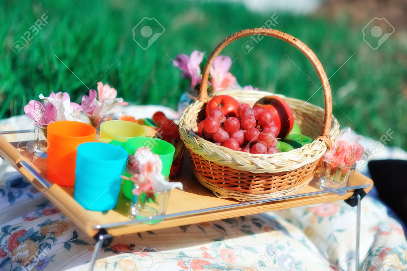 basket with fruit and flowers Stock Photo - 14059910