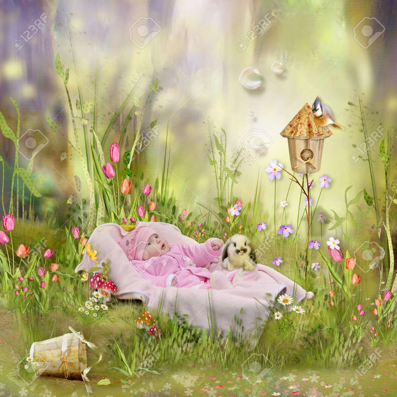 Illustration D Un Dessin Anime Dans La Prairie De Fleurs Sauvages