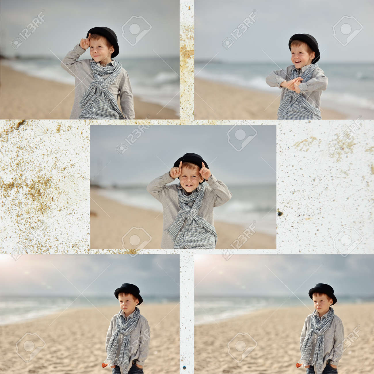 collage-emotional boy in black hat and jeans posing on the beach Stock Photo - 15451938