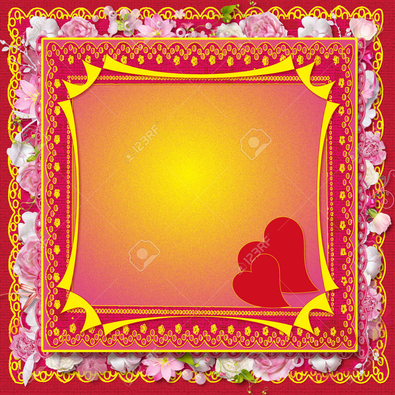 pink floral greeting card with hearts for Valentine s Day Stock Photo - 16904511