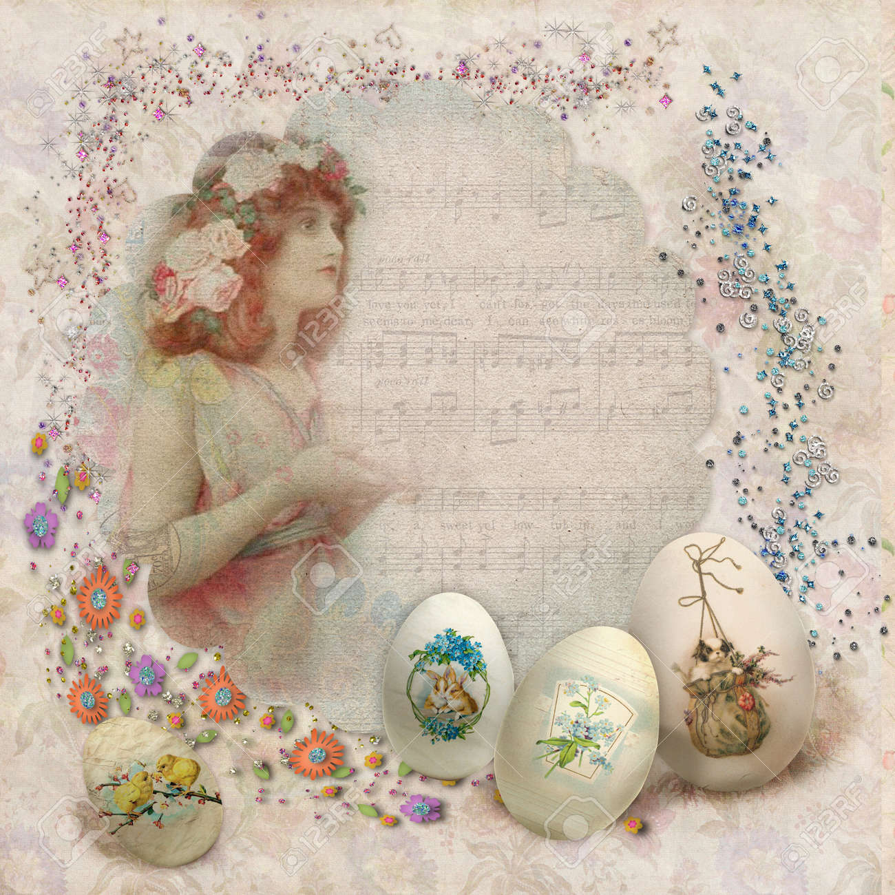 Easter vintage postcard with beautiful eggs and space for text Stock Photo - 18117934