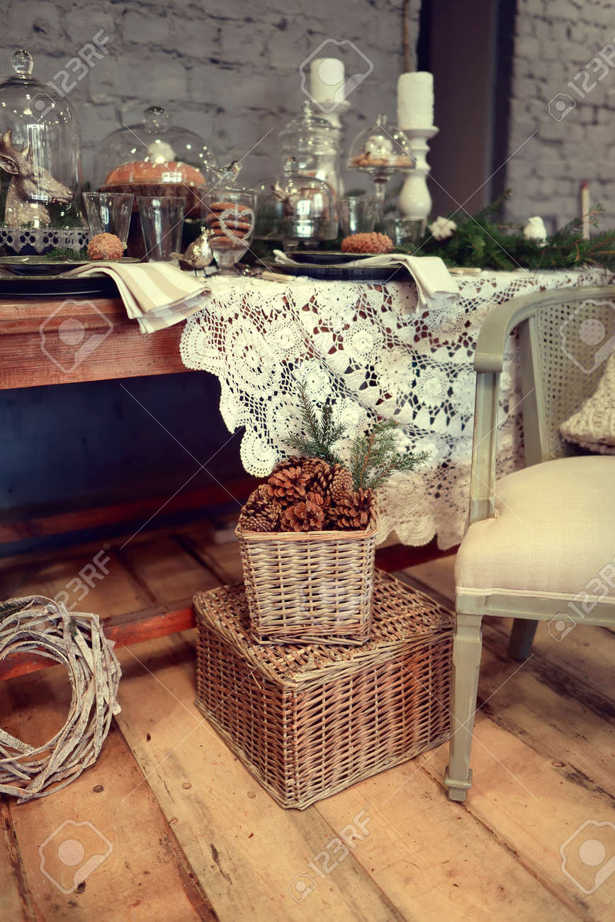 In A Room With A Beautiful Christmas Table Decorations Chair Stock Photo Picture And Royalty Free Image Image 34807231