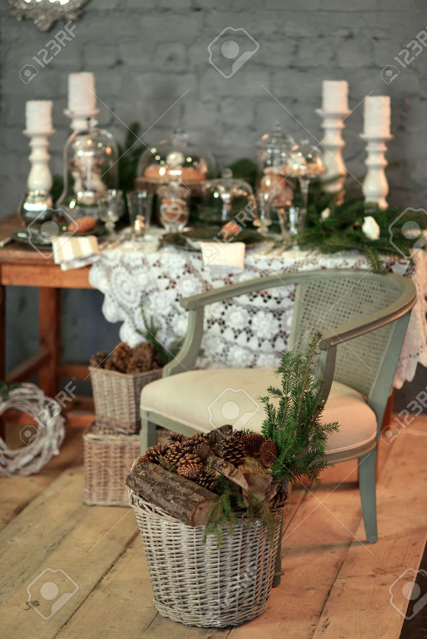 In A Room With A Beautiful Christmas Table Decorations Chair Stock Photo Picture And Royalty Free Image Image 34816457