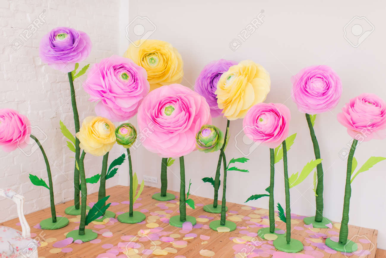 Big Buds Of Bright Colored Paper Flowers
