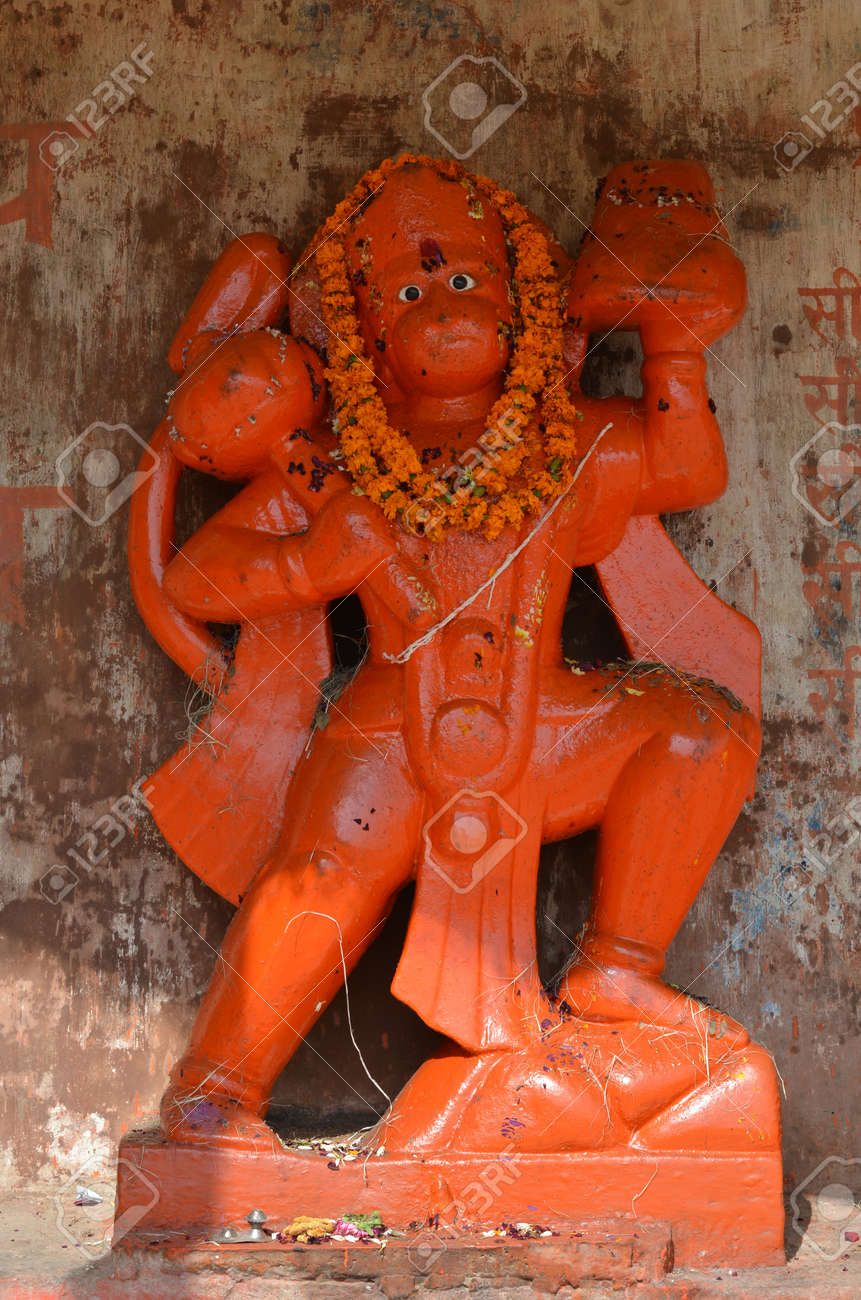 Orange Statue of Lord Hanuman, the Hindu Monkey Deity in Varanasi,