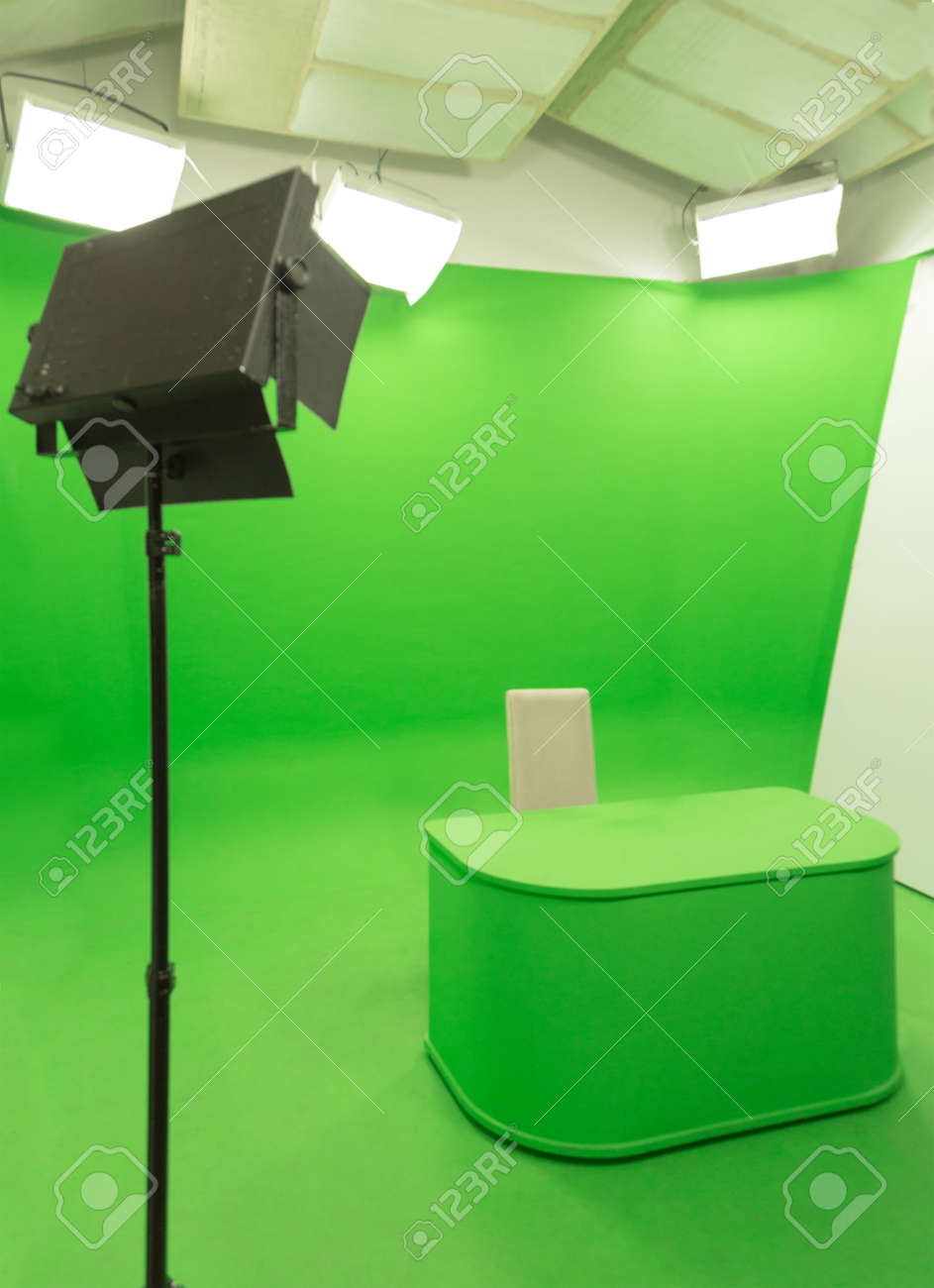 Modern Tv Studio Green Screen Chroma Key Background With Camera  # Television Moderne