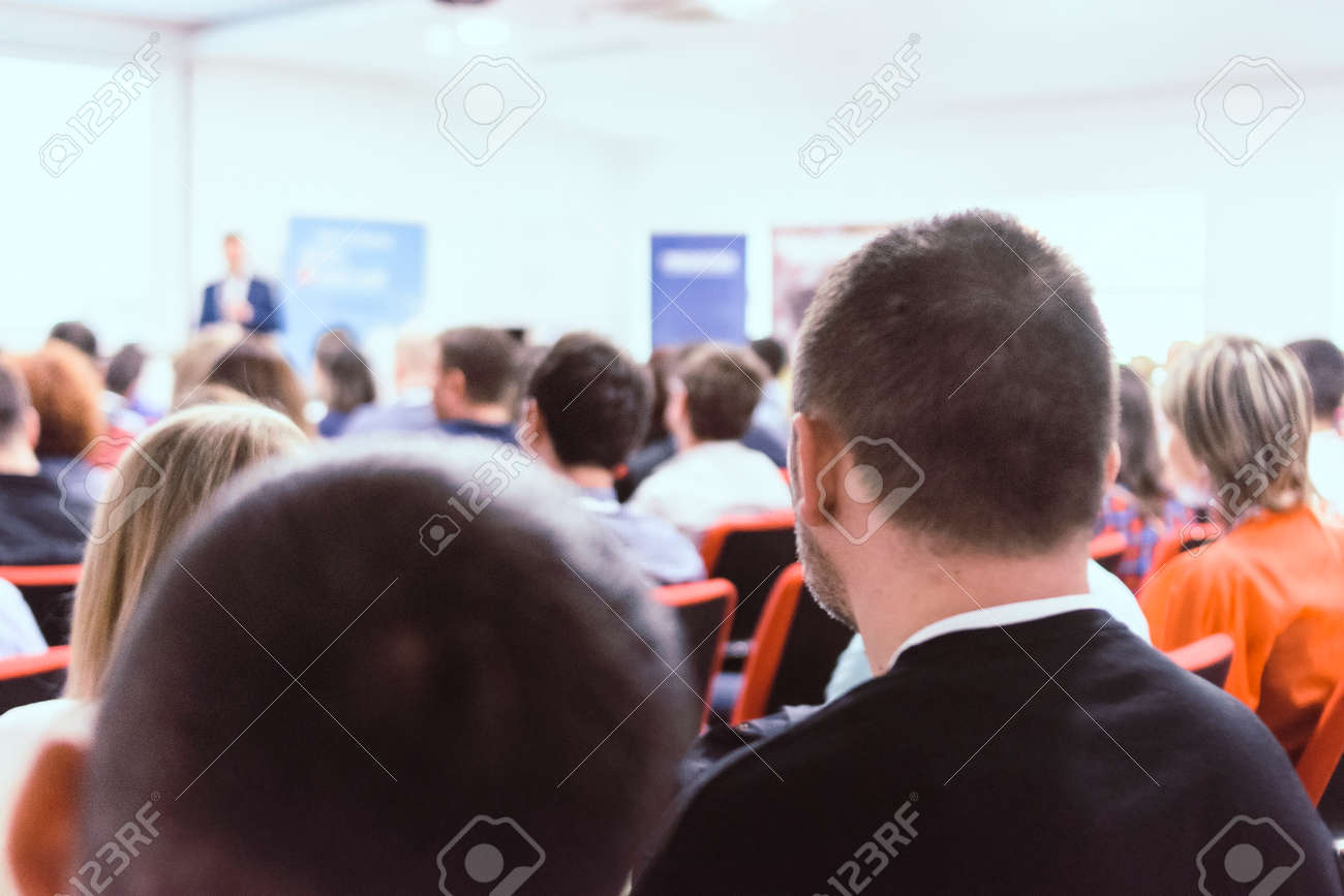 Young and successful people at business and data seminar listening presentation. Business and success concept. - 121351345