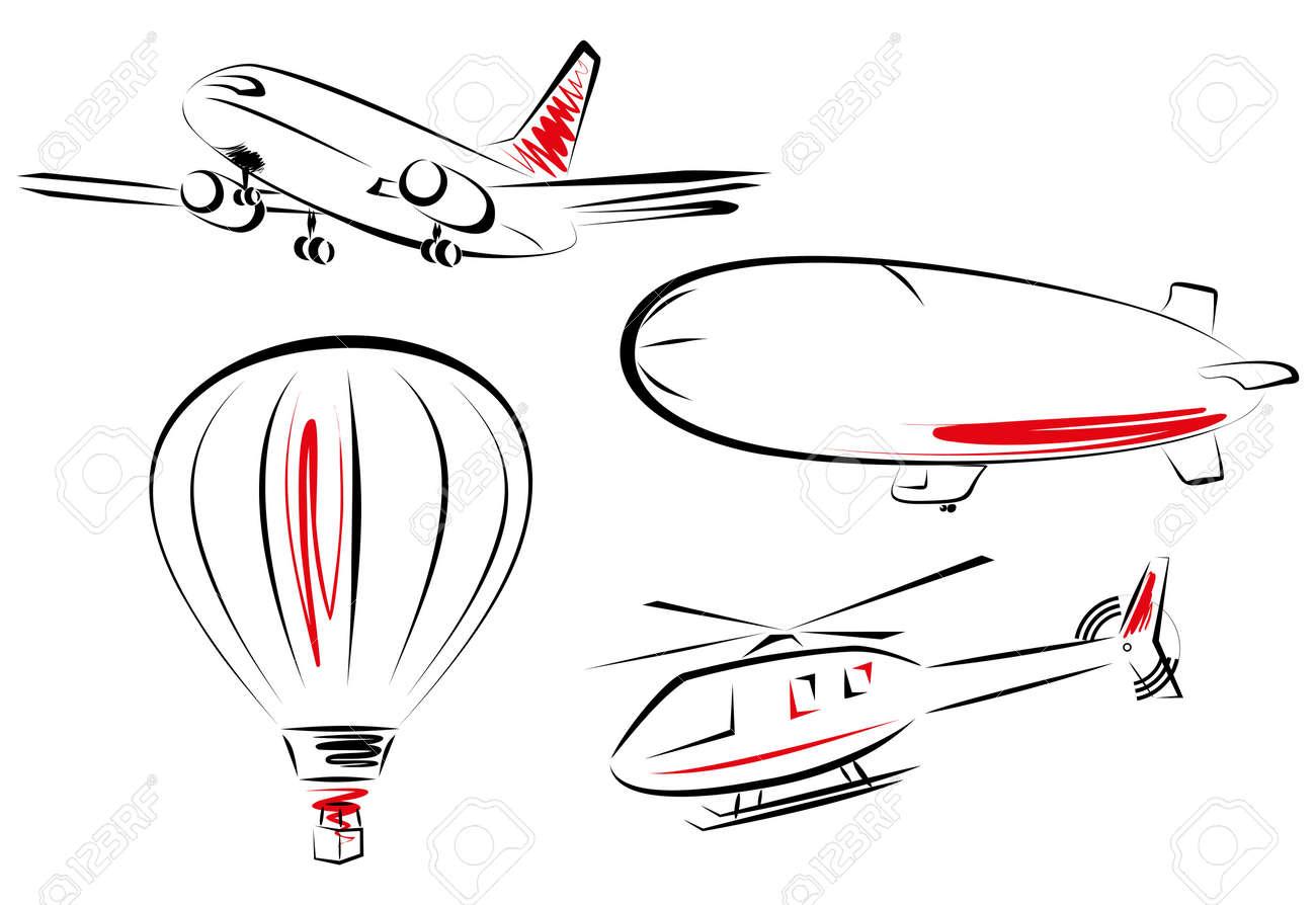air transport icon set     illustrations of various flying transportation Stock Vector - 13837121