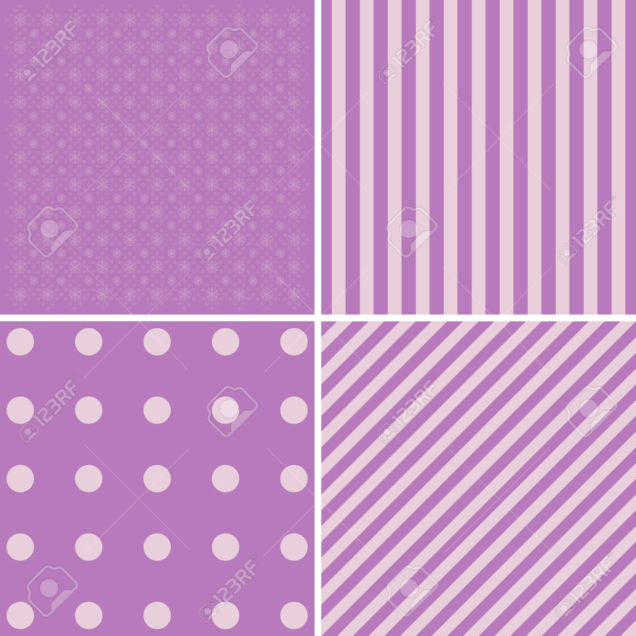 vector set of 4 retro background patterns in purple and green