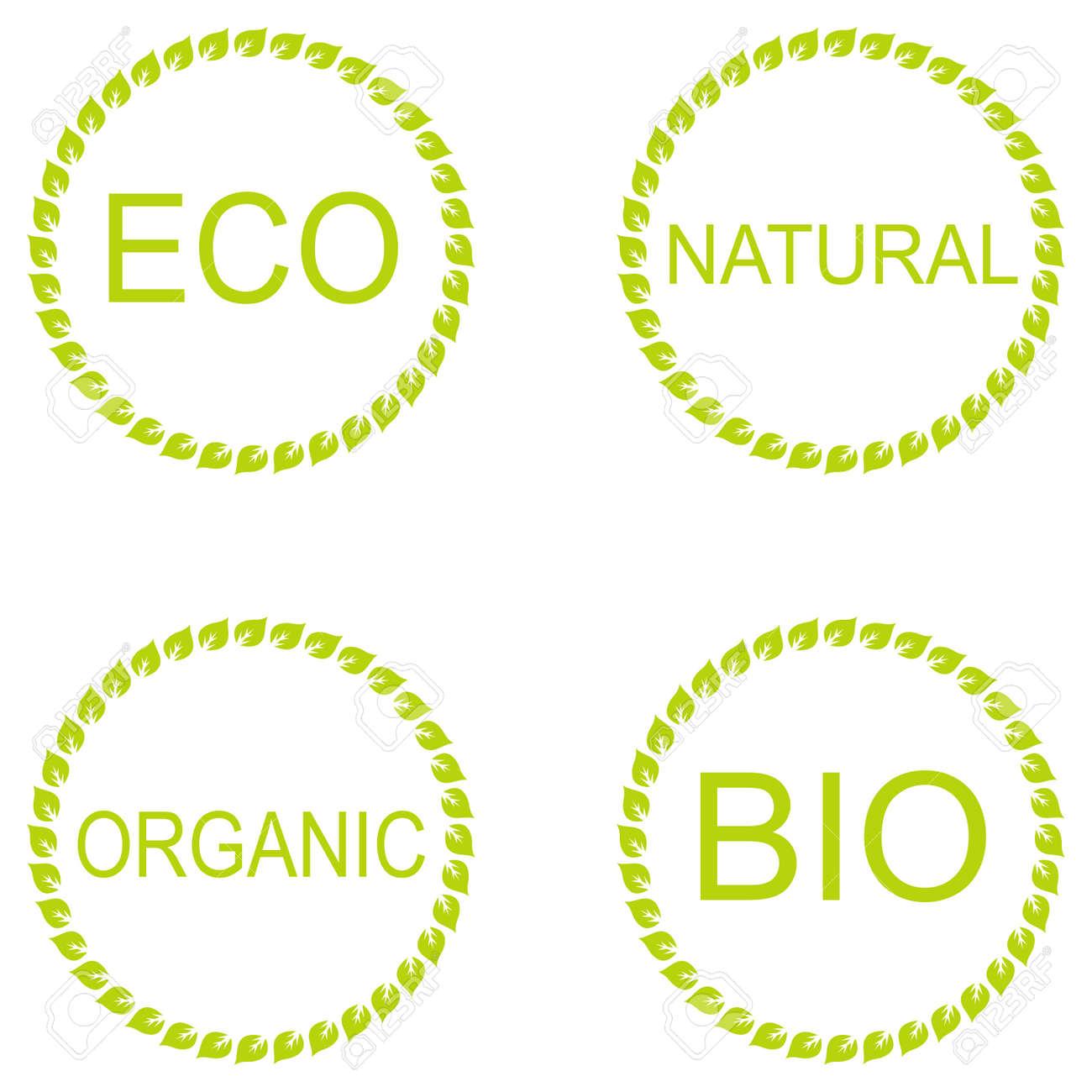 Eco Colección De La Etiqueta Etiqueta Orgánica, Marcos Verdes ...