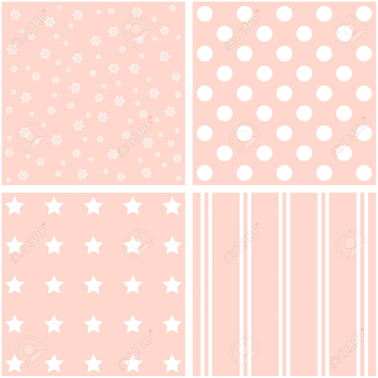 Set Of Four Pink Floral Patterns Greeting Card Template Royalty