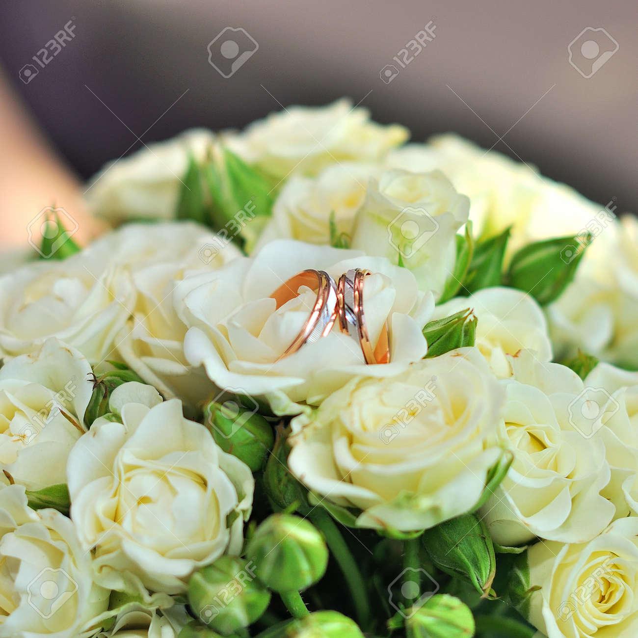 Hochzeitsblumen Brautblumenstrauss Nahaufnahme Dekoration Aus Rosen