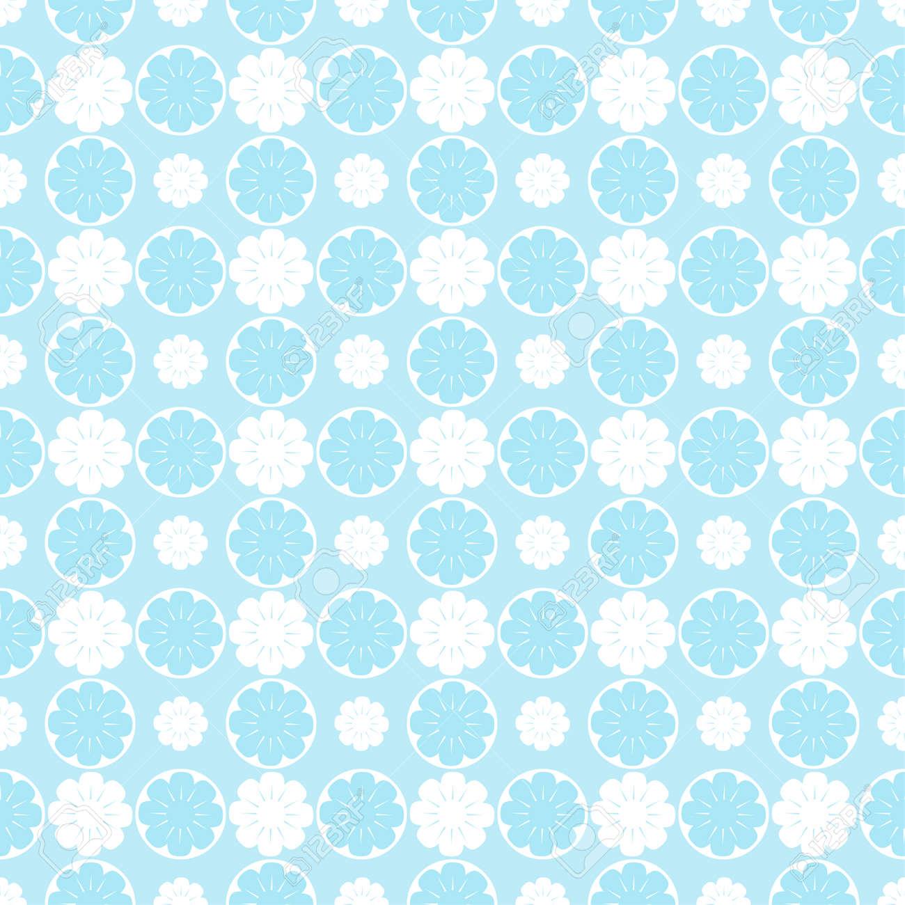 Blue Floral Pattern Vector Elegant Floral Background Royalty