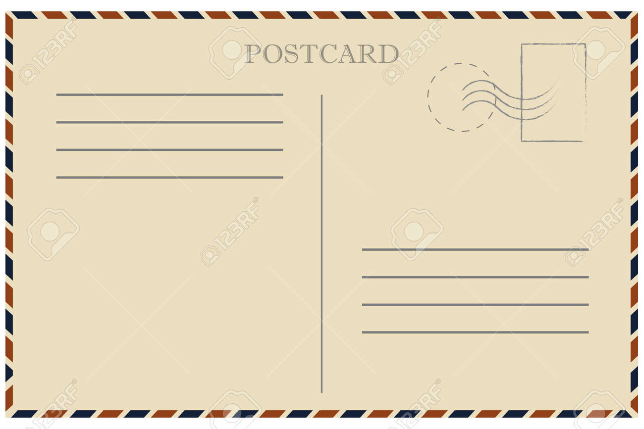 Amazing Old Template. Retro Airmail Envelope With Stamp. Vector