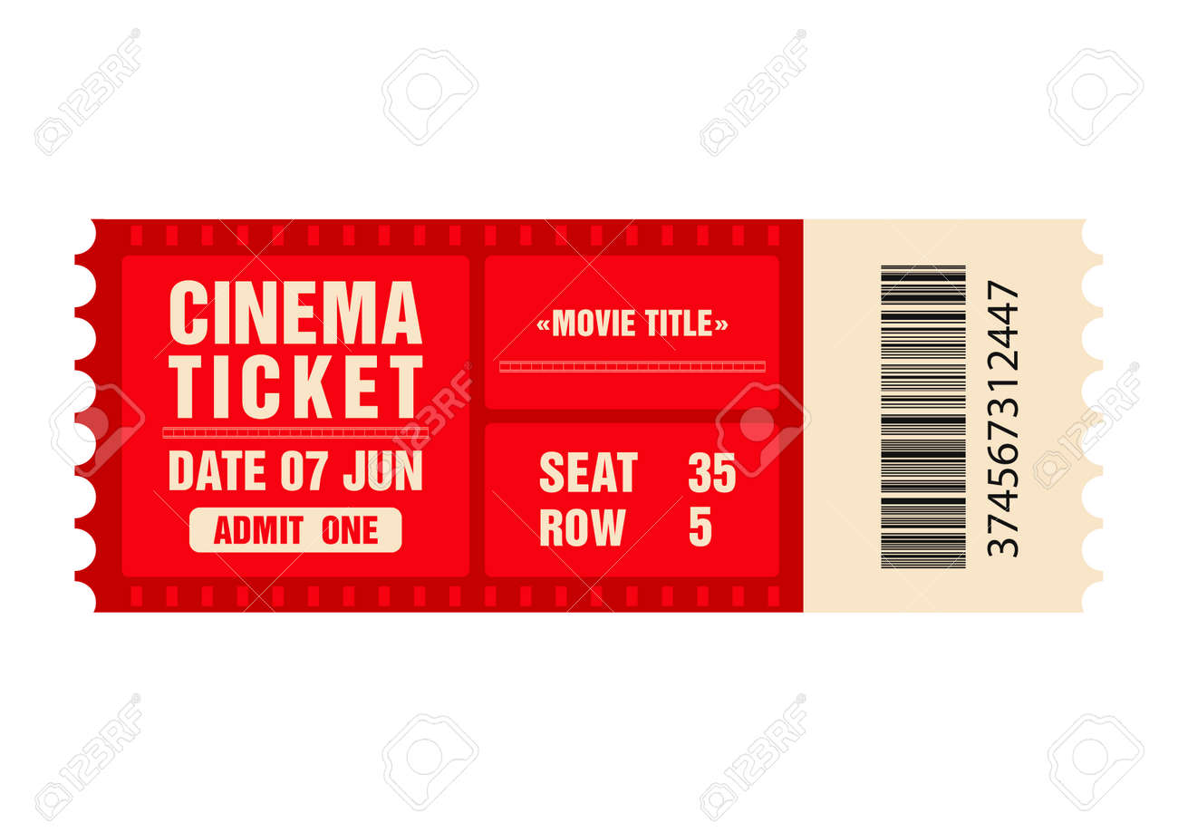 Cinema Ticket Movie Ticket Template Isolated On White Background