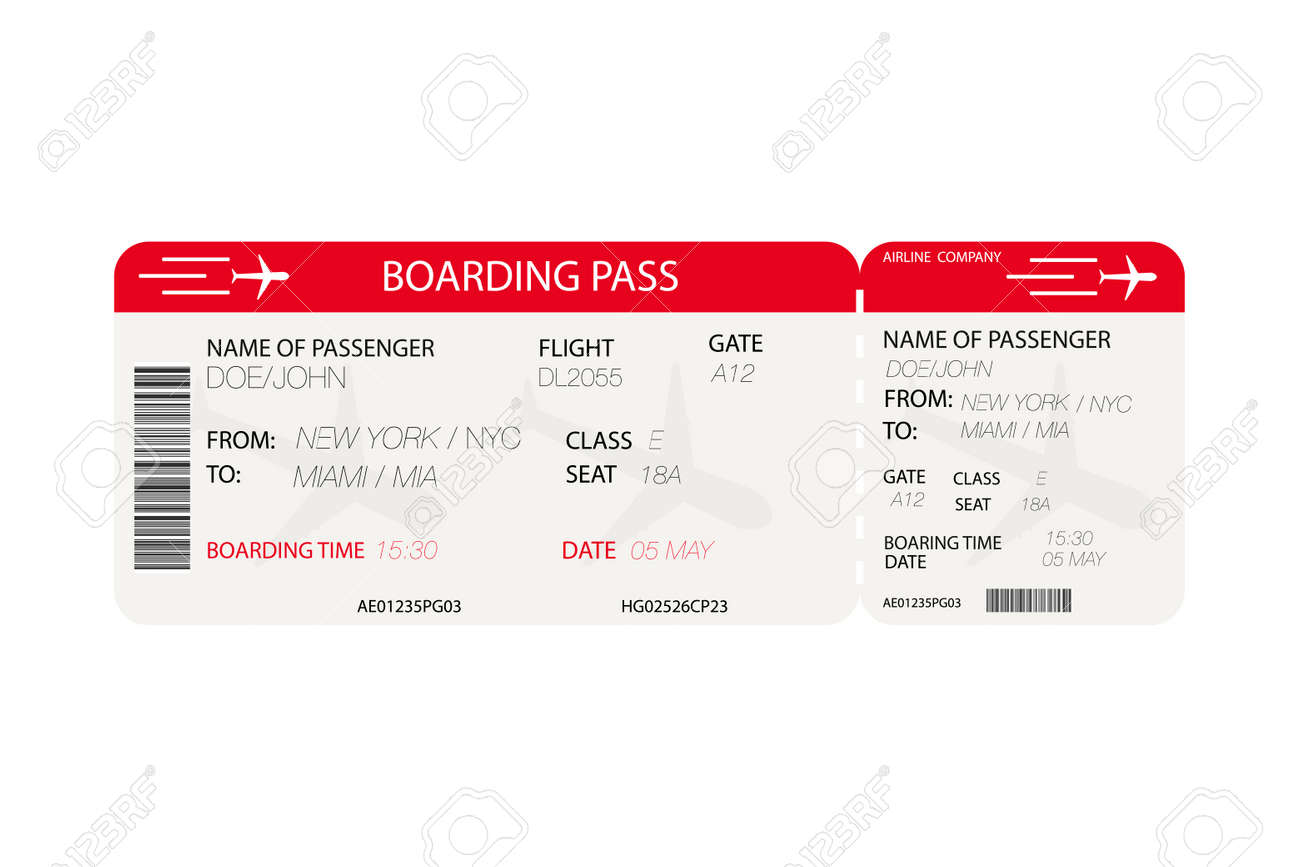 Airline Ticket. Boarding Pass With Airplane Silhouette On White.. Royalty  Free Cliparts, Vectors, And Stock Illustration. Image 97677269.