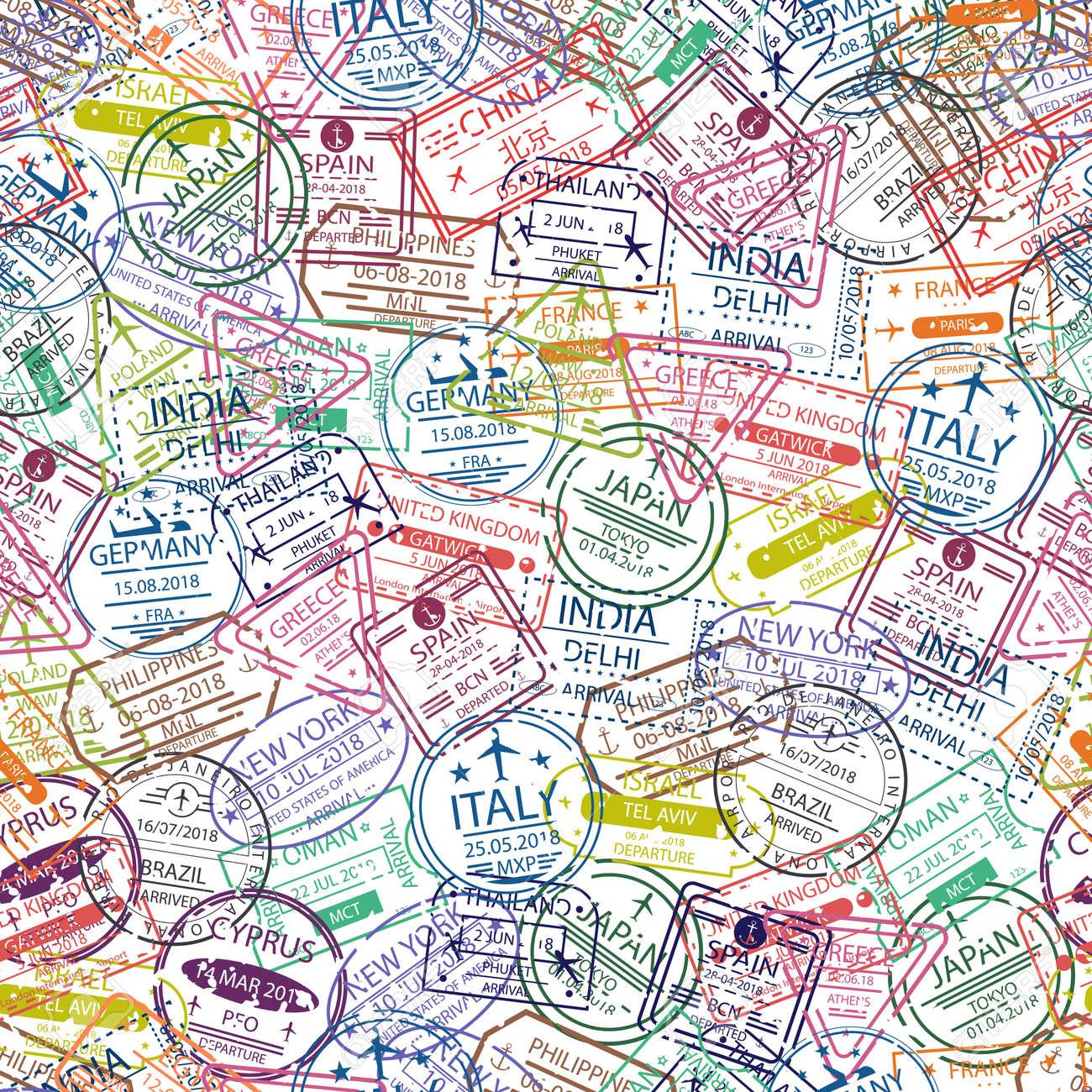 passport stamp seamless pattern travel background with stamp