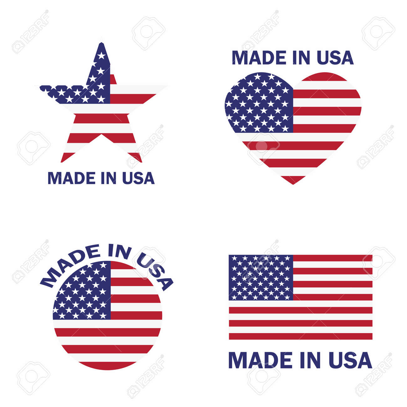 Set of Made in the USA label with American flag vector illustration - 99059181