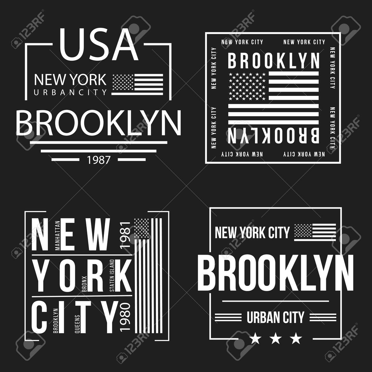 Set Of New York City Brooklyn Typography For T Shirt Print