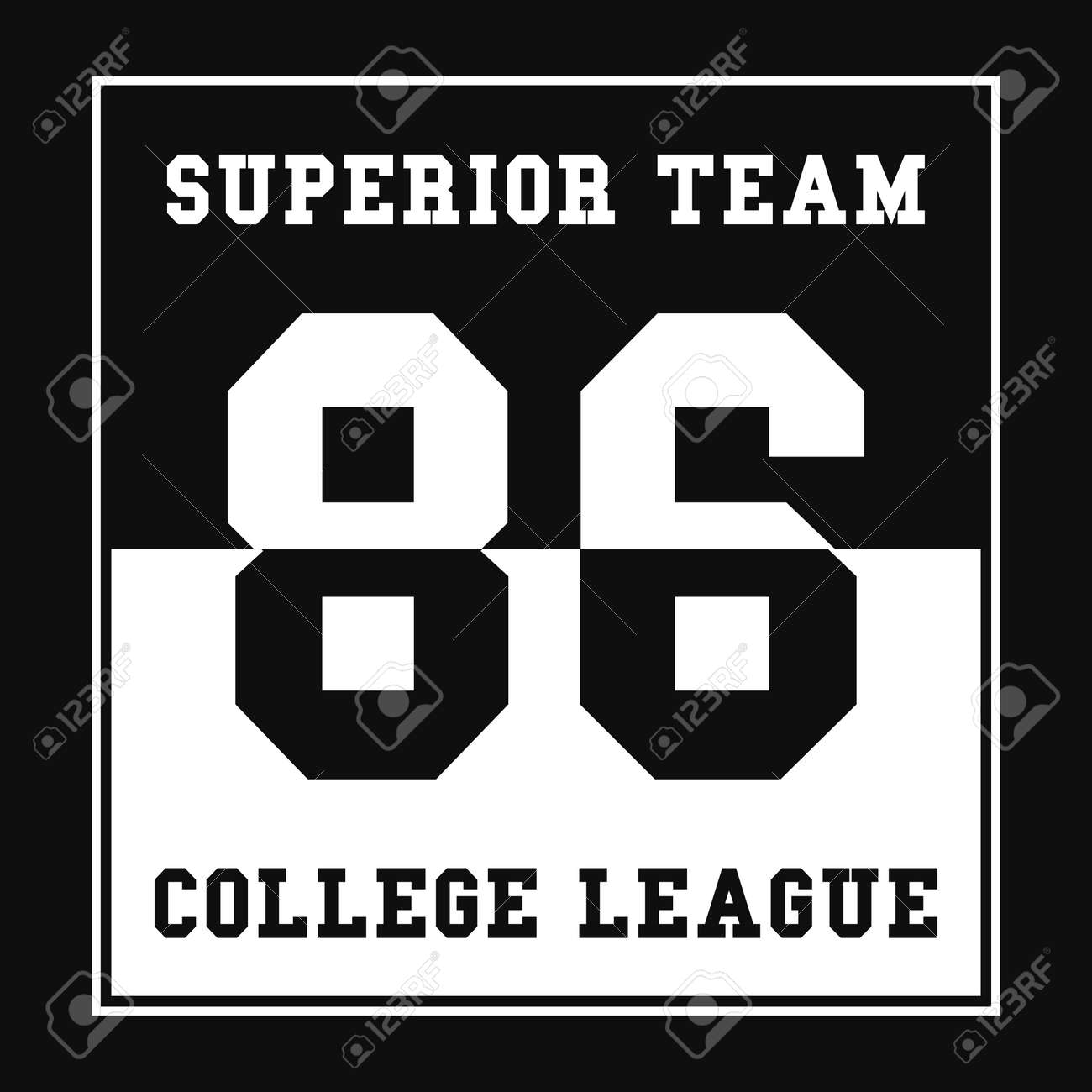 2521d7518 Vector. Sports, College league t-shirt graphics. Number sport typography.  Print, t