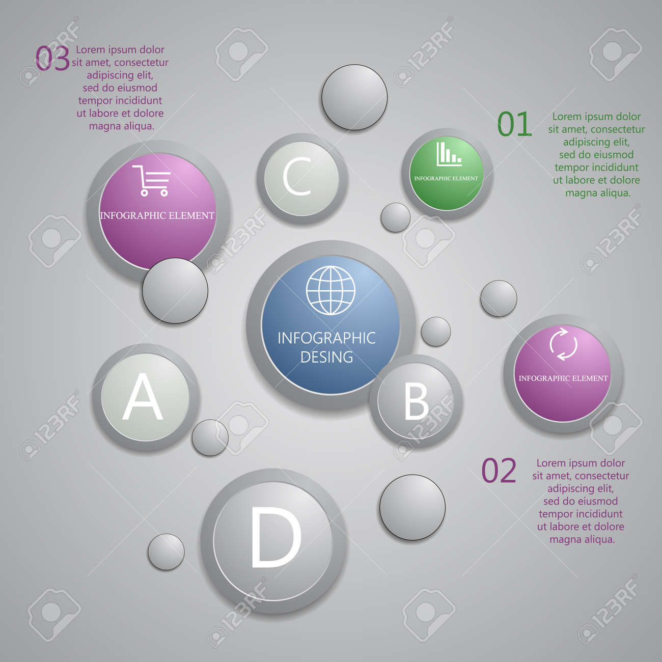 modern presentation panel with glossy plastic buttons and shiny