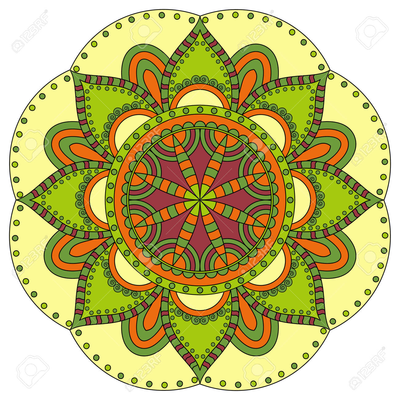 Oriental Pattern. Traditional Round Coloring Ornament. Mandala ...