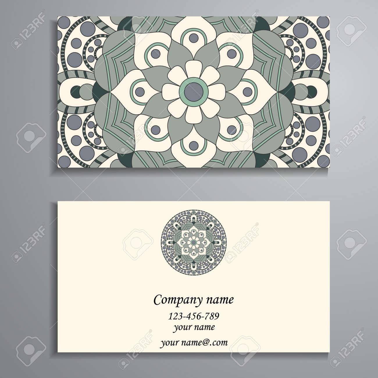 Carte De Visite Elements Decoratifs Vintage Cartes Florales Ornementales Motif Oriental
