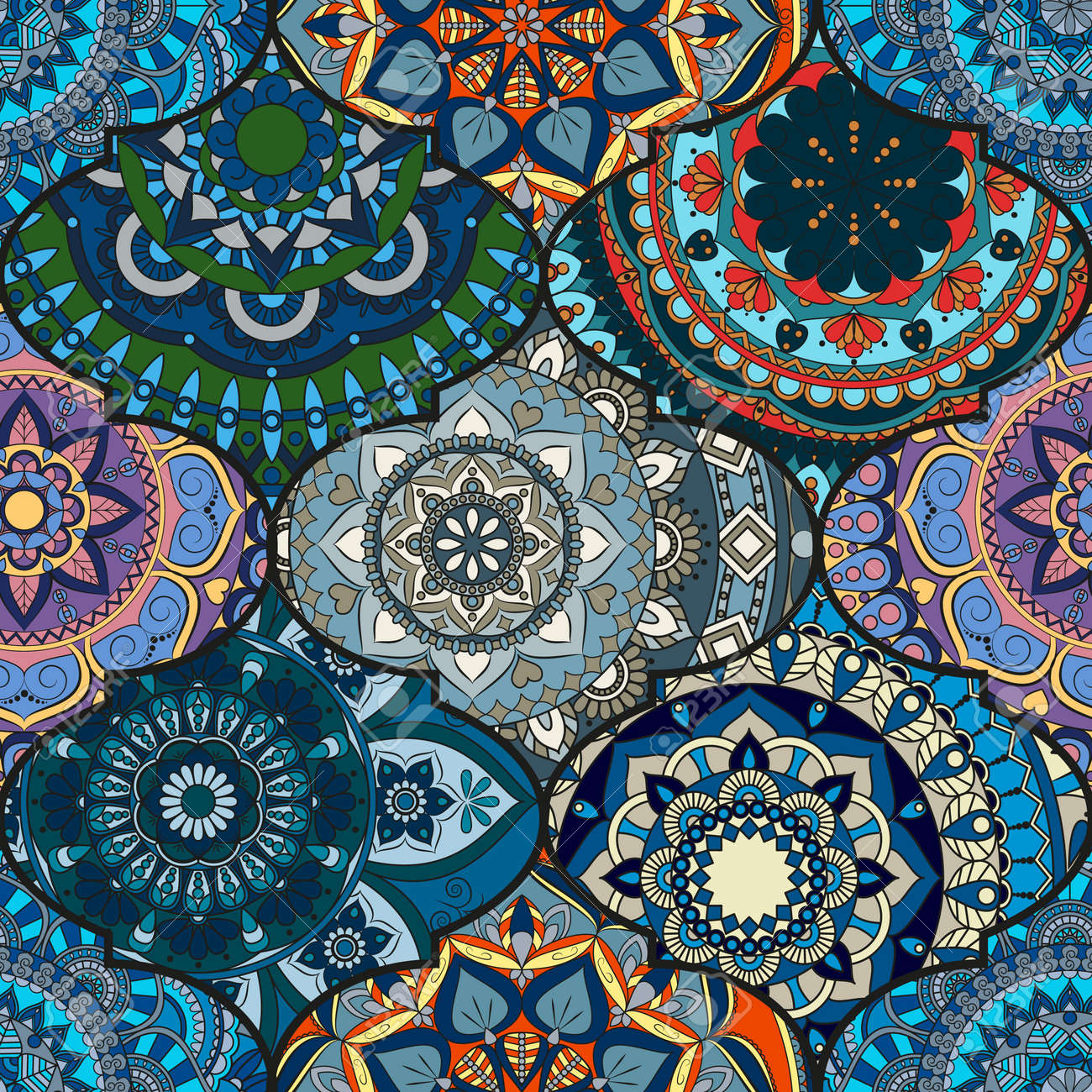 Colorful Tiles Boho Seamless Pattern. Mandala Background. Abstract ...