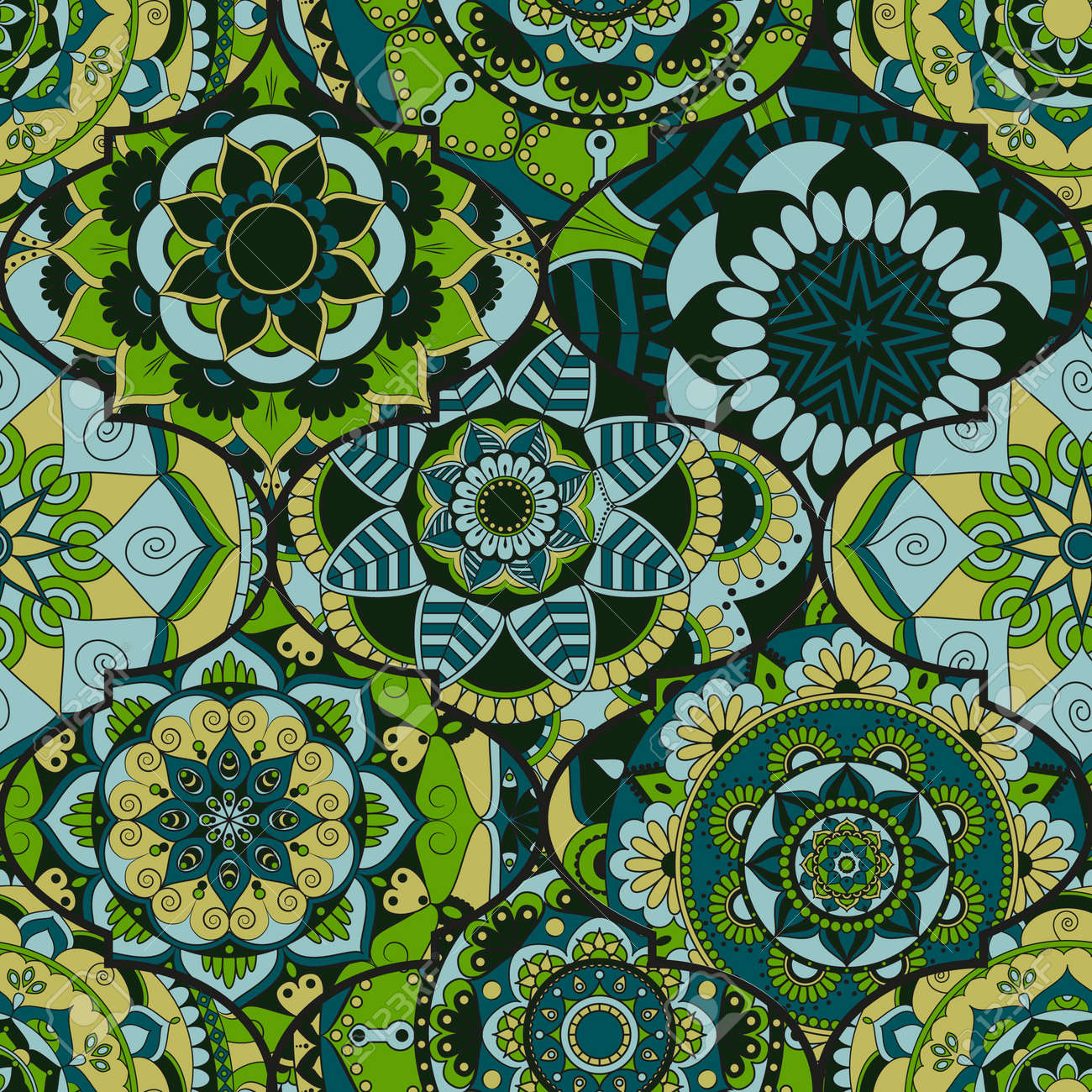 Colorful Tiles Boho Seamless Pattern Mandala Background Abstract Flower Ornament Floral Wallpaper
