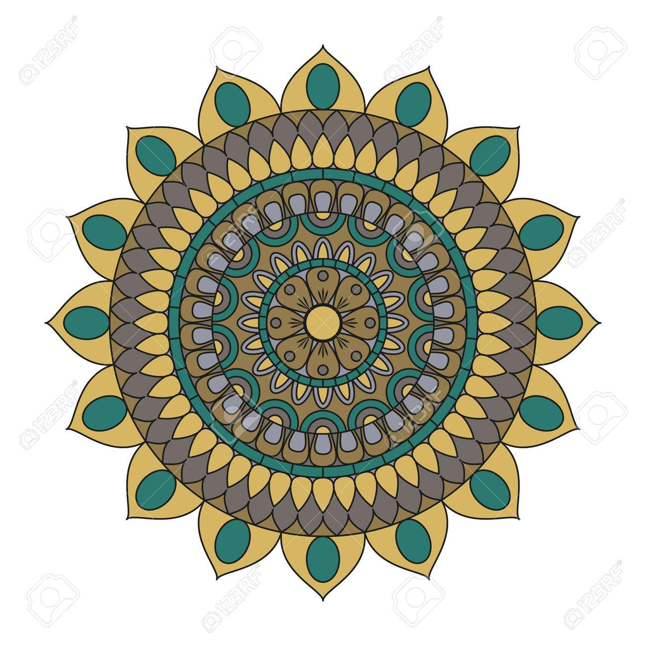 Mandalas Flor Elementos Decorativos De La Vendimia Modelo Oriental - Mandalas-indios