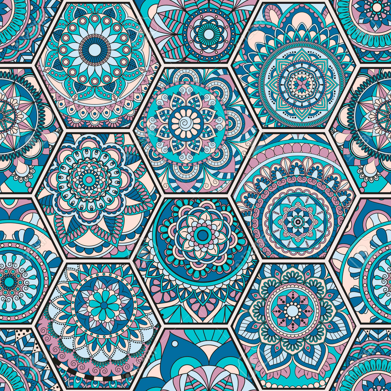 Luxury Oriental Tile Seamless Pattern. Colorful Floral Patchwork ...