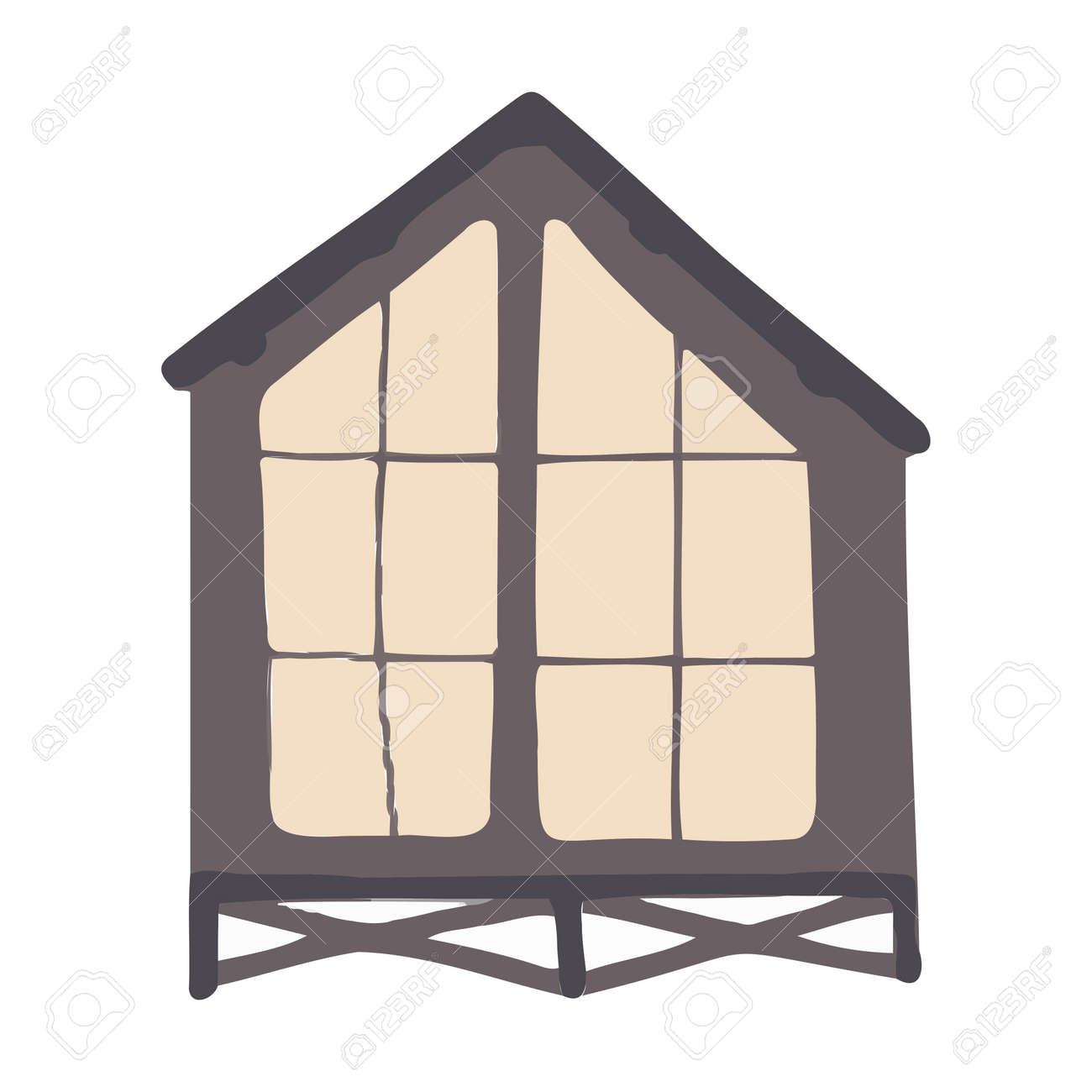 Vector cartoon gray house for kids. House for the design of children's banners and postcards. - 169416420