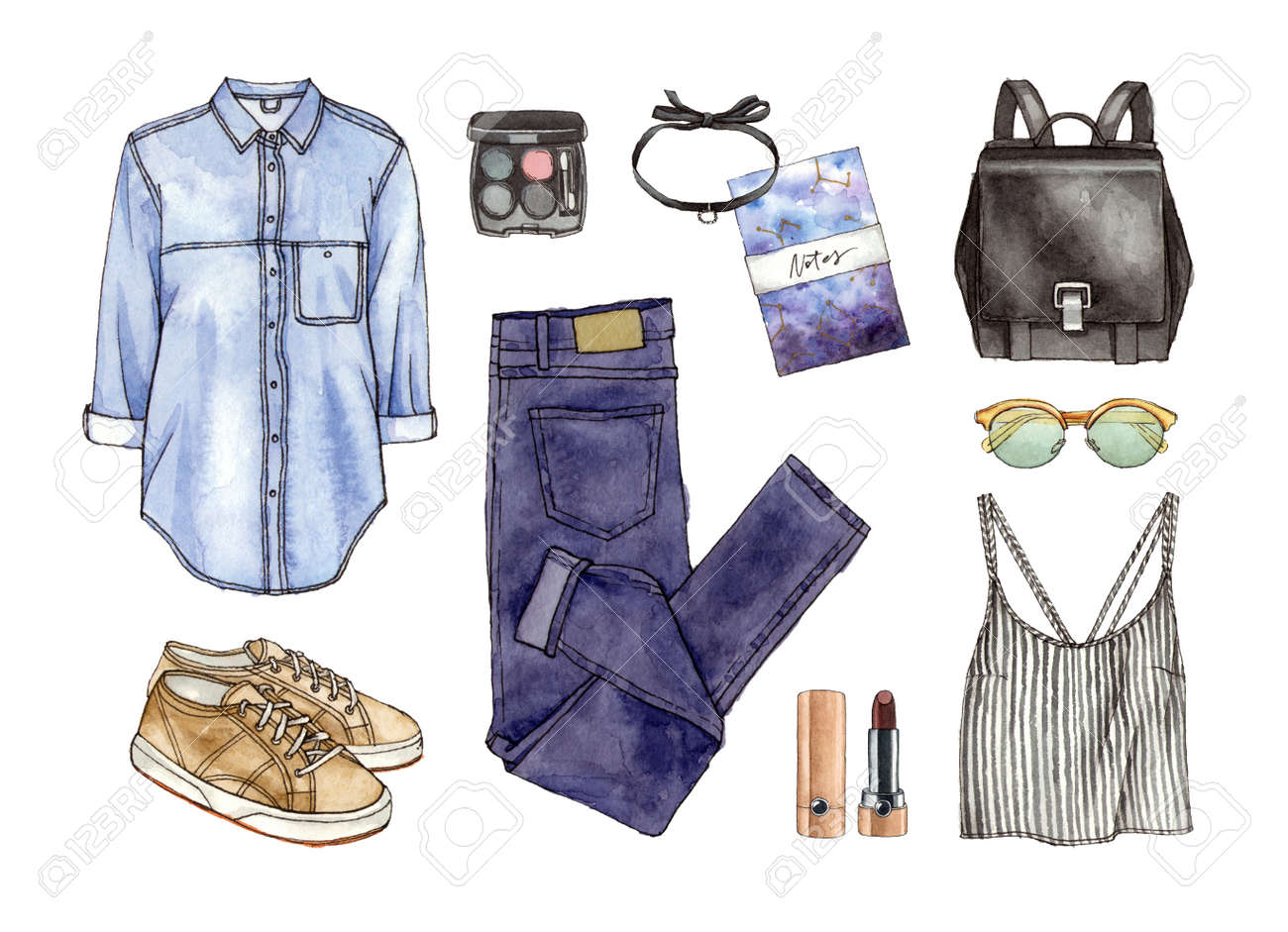 Watercolor Hand Paintiing Sketch Fashion Outfit A Set Of Clothes Stock Photo Picture And Royalty Free Image Image 86519785